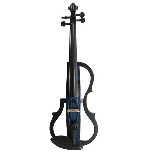 Kinglos 4/4 Blue Ripple Colored Solid Wood Advanced 3-Band-EQ Electric / Silent Violin Kit with Ebony Fittings Full Size (SDDS-N009)