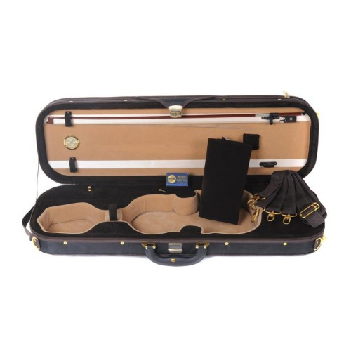 Luxury Full Size Oblong Shape Lightwight Violin Case with Hygrometer 4/4