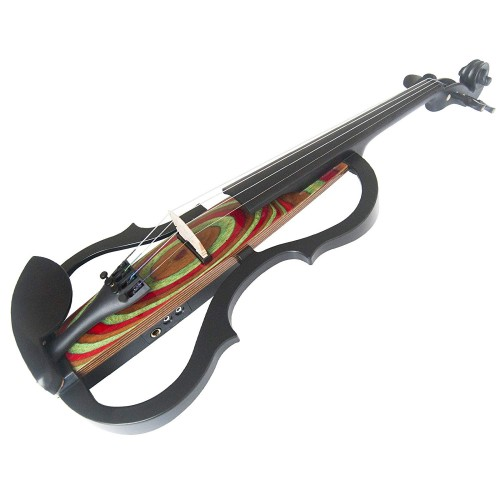 Kinglos 4/4 Red Ripple Colored Solid Wood Advanced 3-Band-EQ Electric / Silent Violin Kit with Ebony Fittings Full Size (SDDS-N029)