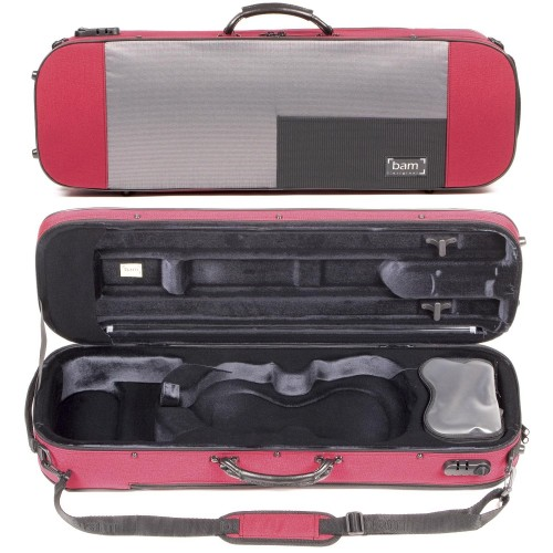 Bam Stylus 5001S 4/4 Violin Case with Red Exterior and Silver Interior