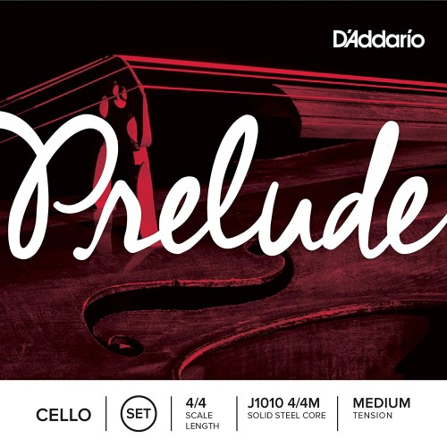 D'Addario J1010 Prelude Cello String Set, 4/4 Scale Medium Tension (1 Set) –Solid Steel Core, Warm Tone, Economical, Durable – Educator's Choice for Student Strings – Sealed Pouch Prevents Corrosion