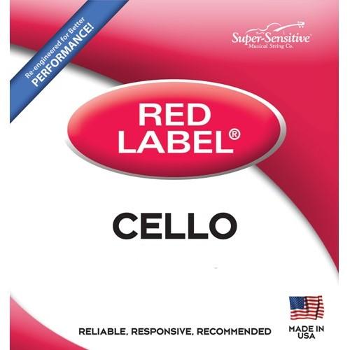 Super-Sensitive Red Label Cello String Set - 4/4 Size - Medium Gauge