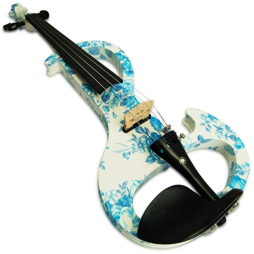 Kinglos 4/4 White Blue Flower Colored Solid Wood Intermediate-A Electric / Silent Violin Kit with Ebony Fittings Full Size