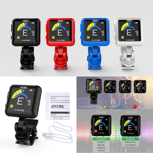 AROMA Rechargeable Clip-on Electronic Tuner Color Screen USB Guitar Bass Violin