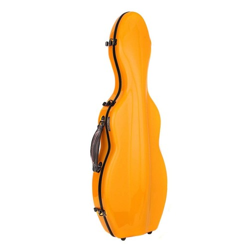 Cello-shaped Fiberglass 4/4 Violin Case, orange/ blue color